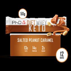 Cutie 12 Batoane PhD Diet Whey KETO Bar Salted Peanut Caramel 50g